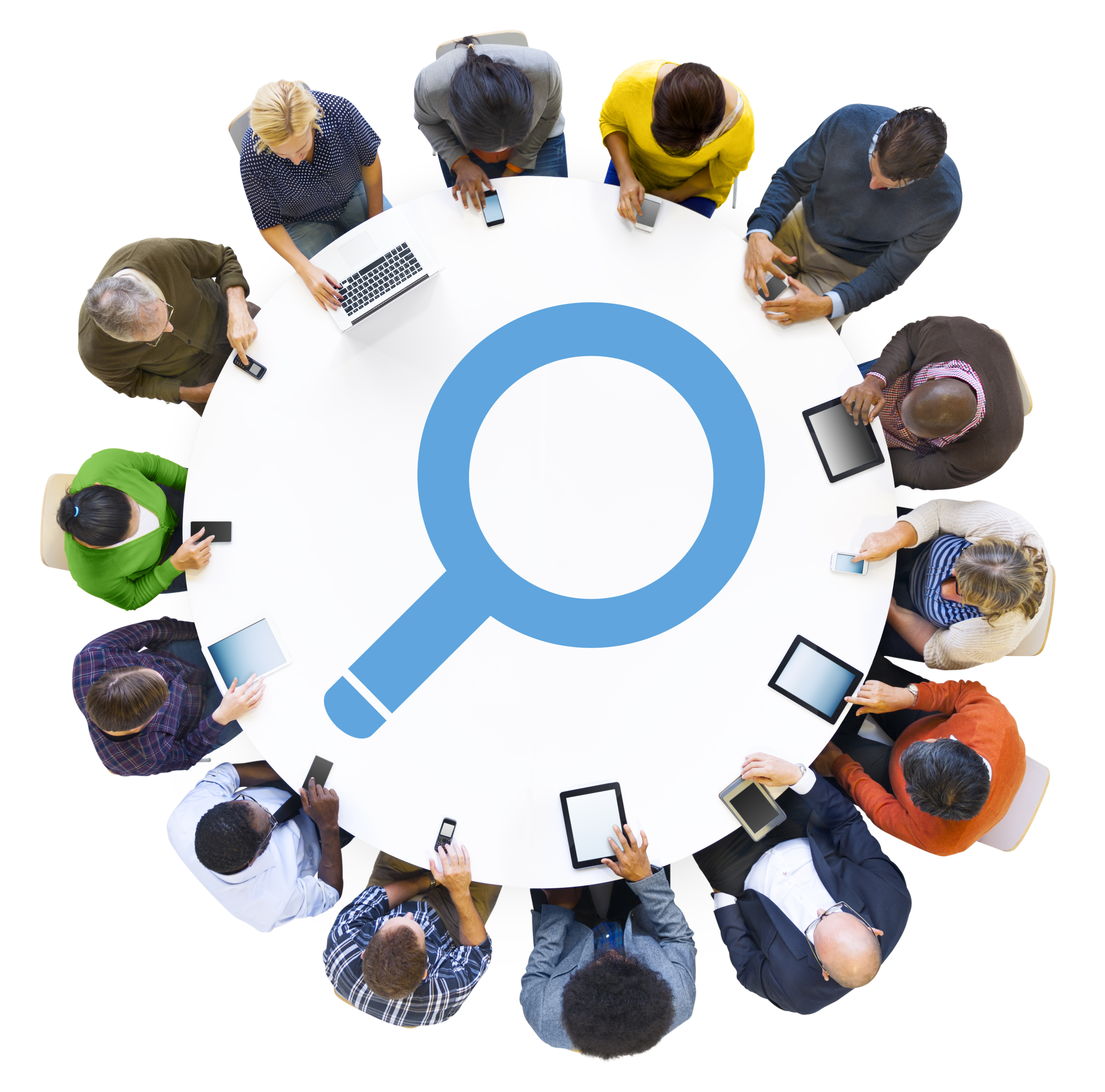 Diverse People Using Digital Devices with Search Symbol