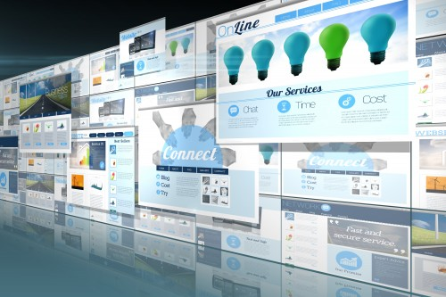 Screen collage showing business advertisement