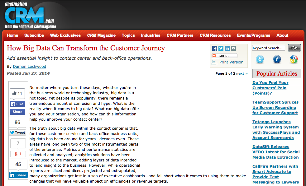 Destination CRM How Big Data Article