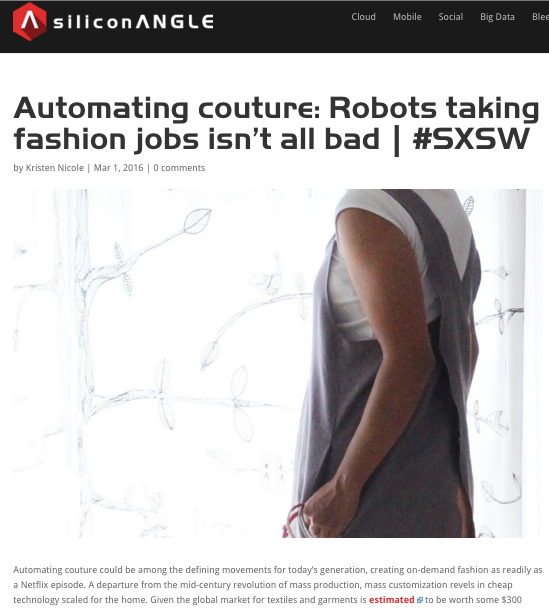SiliconAngle Article Automating Couture