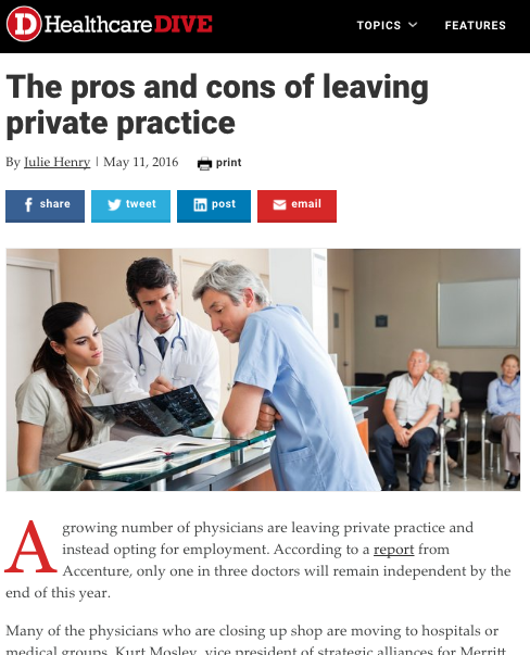 HealthcareDive Article - pros and cons of leaving private practice