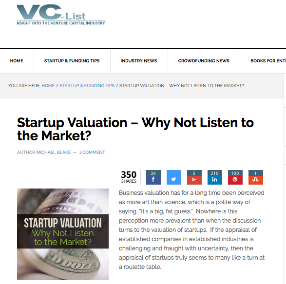 Vc List Startup Valuation Article