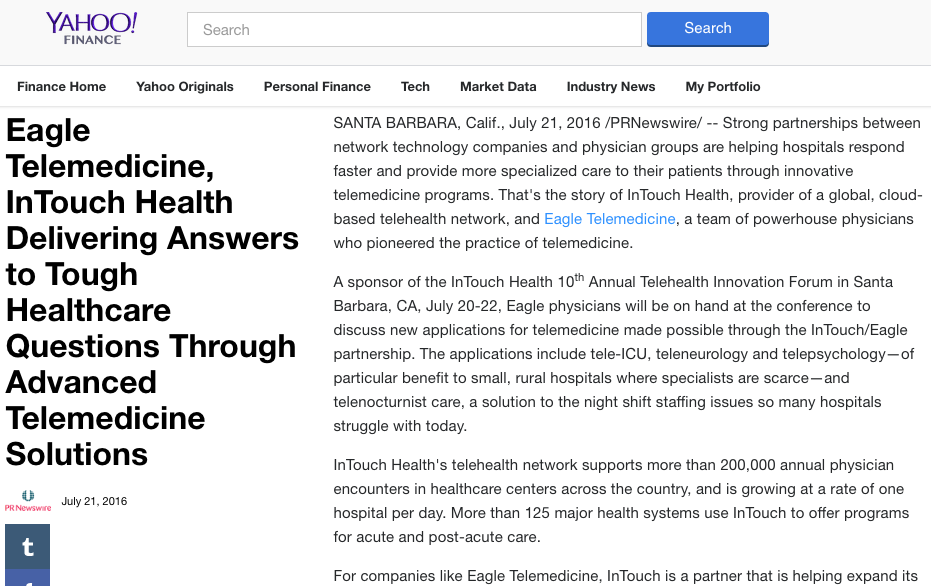 Yahoo Finance - ET InTouch Health article