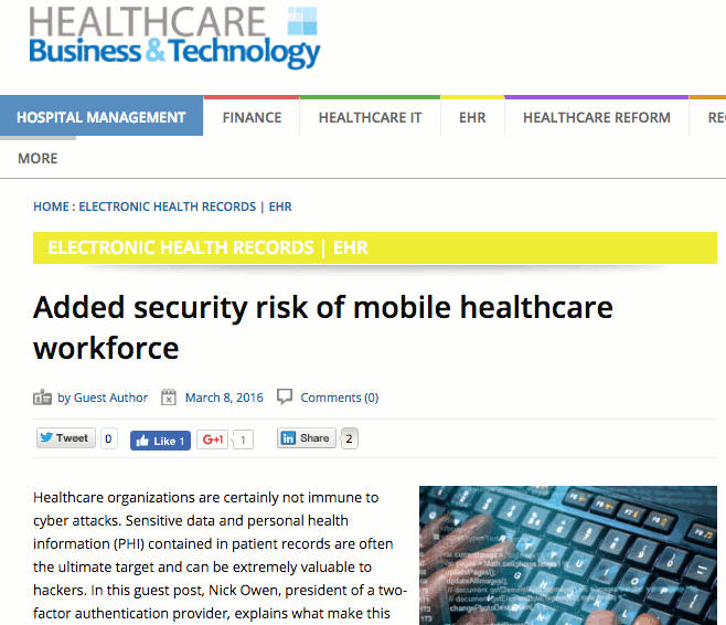 Healthcare B and T article