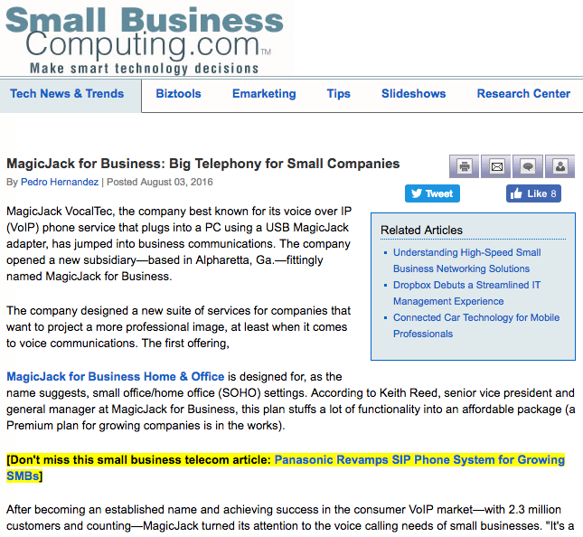 Small Business Computing Article