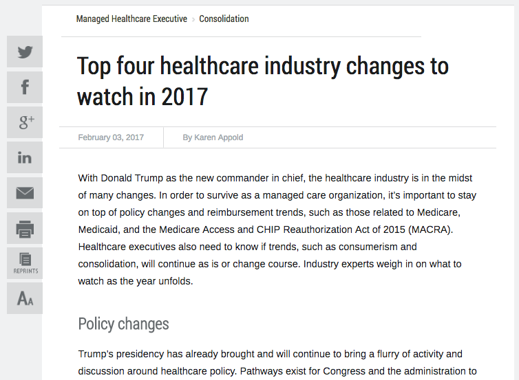 changes in the healthcare industry The healthcare industry is in a state of flux mike strazzella, a federal government healthcare attorney, shares his expectations for how technology and new regulations will shape the future of care.